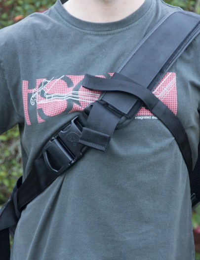 The Henty Wingman sits on the left or right shoulder and a chest strap adds security
