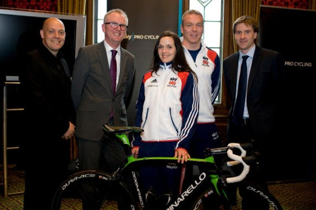 L-R: Dave Brailsford, Ian Austin MP, Victoria Pendleton, Sir Chris Hoy and Steve Brine MP at an All Party Parliamentary Cycling Group reception in 2011
