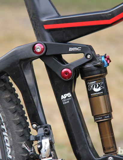 The 2014 BMC Trail Fox 29 has 150mm of rear wheel travel, a feat the company was able to achieve while keeping chainstay length to a very respectable 435mm (17.1in) by mounting the front derailleur to the rear triangle brace rather than the seat tube