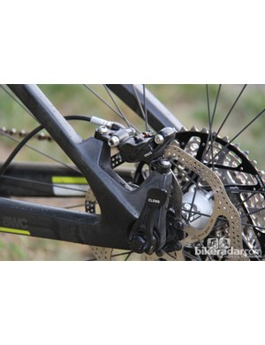 The BMC Trail Fox 29 uses post-mounts for the rear disc brake