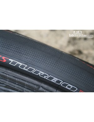 Unlike the old S-Works Turbo, which had a totally slick surface, the 2013 tyre gets a fine tread pattern that extends into the sidewall to offer more traction at extreme lean angles