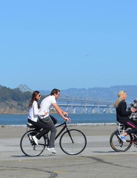 The Companion Bike Seat in action in San Francisco