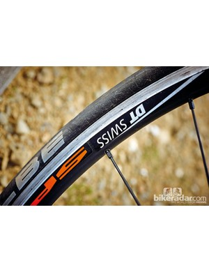 The DT Swiss rims are paired with Schwalbe's high quality Ultremo tyres on the KTM Strada 5000 Di2