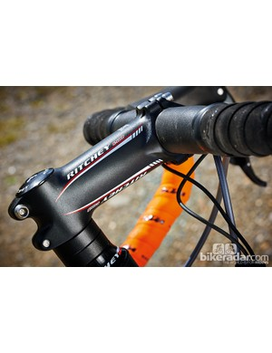 The Ritchey cockpit on the KTM Strada 5000 Di2 provides plenty of feedback and makes for a pretty firm ride