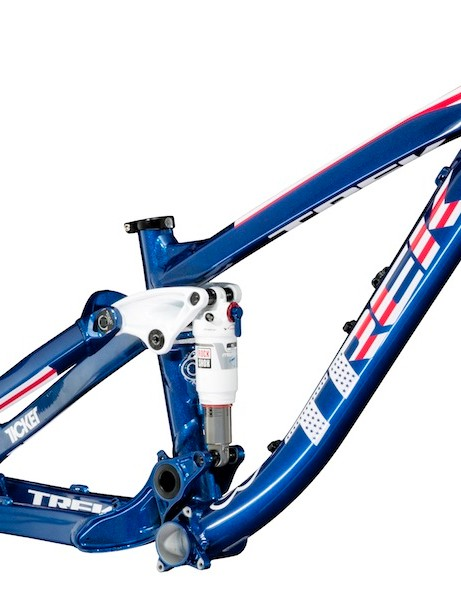 The 2014 Trek Ticket S will come in matte/gloss black, as well as limited edition color schemes inspired by Trek's CE Project riders. Shown here is the first Signature Series frame, Ryan 'R-Dog' Howard's all-American Ticket S