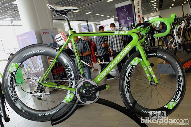 This commemorative edition of Peter Sagan's Cannondale SuperSix EVO celebrates the 100th edition of the Tour de France