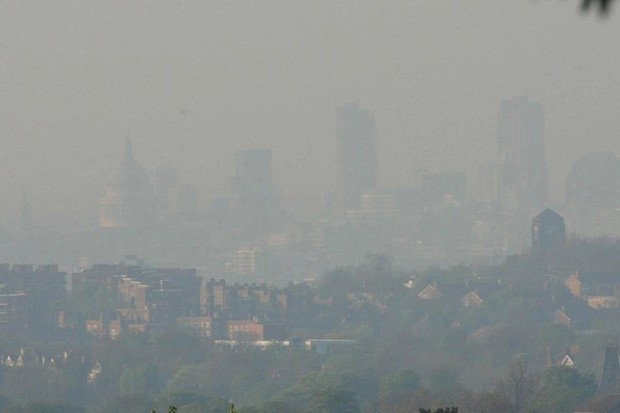 Smog obscures St Paul's Cathedral in central London in April 2003