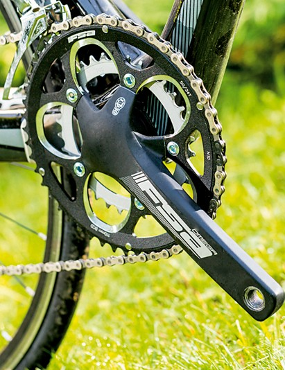 Shimano Tiagra takes care of shifting and braking duties but the cranks are from FSA, due to the Norco Valence Carbon's PF30 bottom bracket