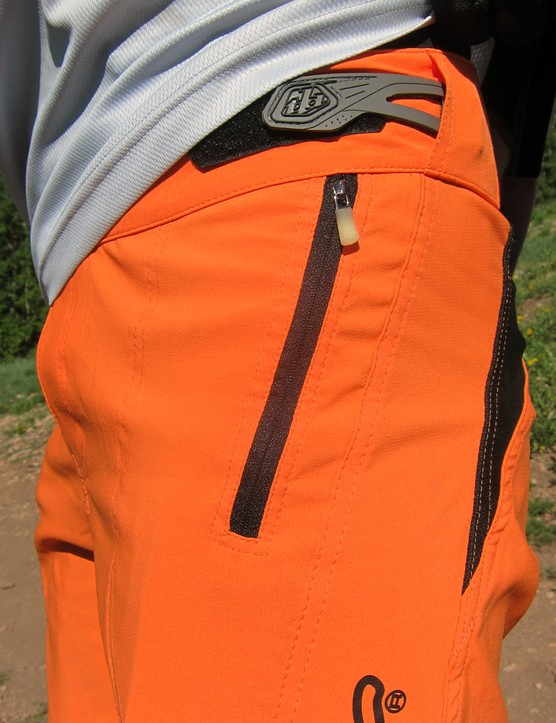 Storage is minimal on the Troy Lee Designs Ruckus shorts, with a single zipped pocket on one side and an open one on the other. Simple hook-and-loop tabs provide some adjustment at the waist