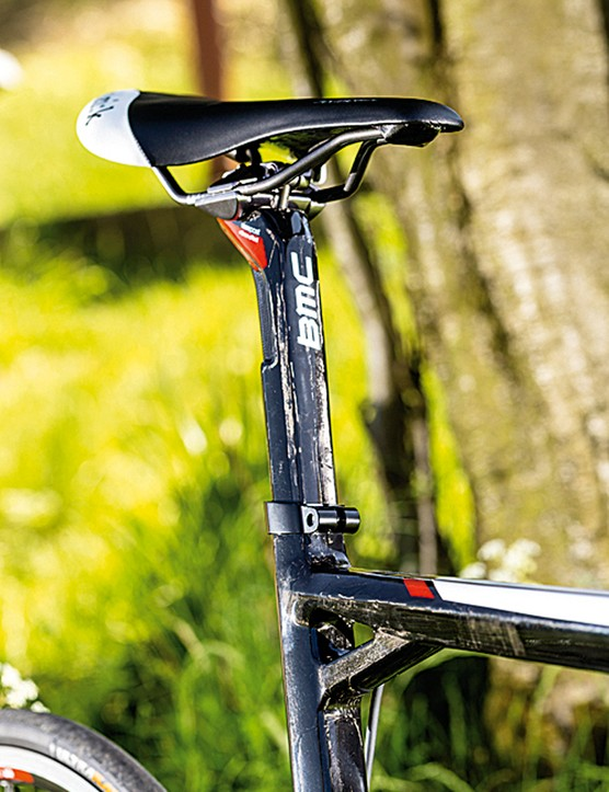 The square-section seat tube means no worries about saddle alignment with the BMC racemachine RM01, but you won't be able to upgrade the carbon post