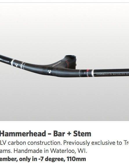 The Bontrager Hammerhead carbon fiber bar and stem combo will be available through Trek's Race Shop Limited program