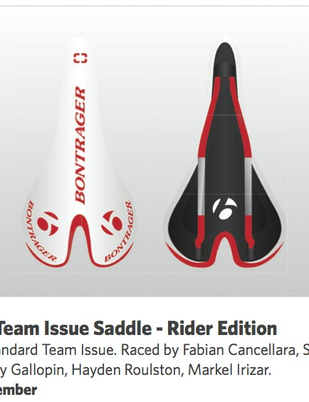 The 'Rider Edition' Bontrager Team Edition saddles feature firmer padding than the inline version, and will be available through the Trek Race Shop program