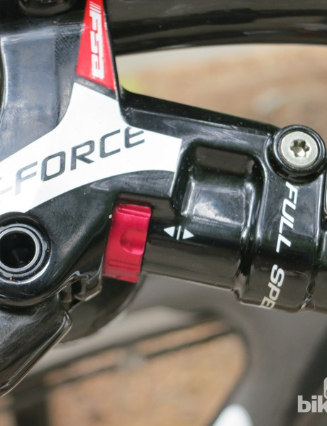 Contact point adjustment is made using the red knob located to the right of the FSA K-Force brake lever