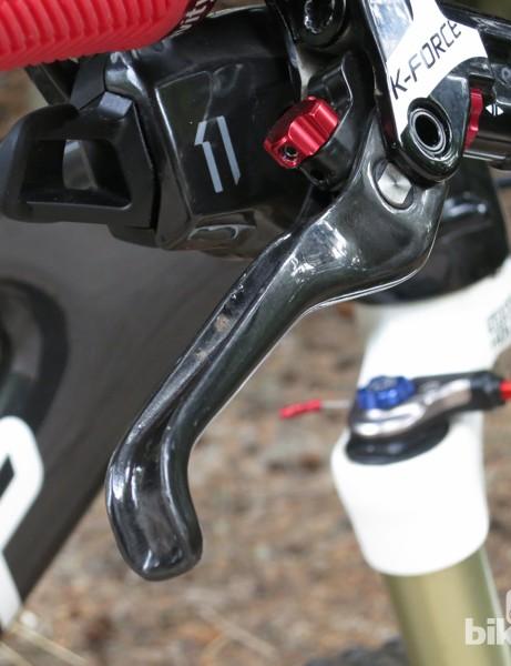 The FSA K-Force brake uses a carbon brake lever