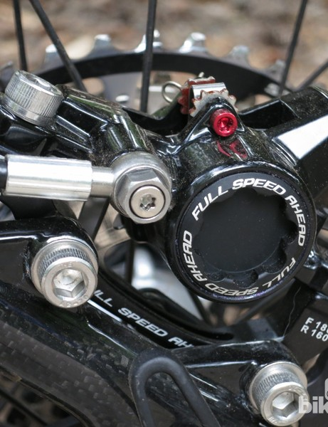 The FSA K-Force caliper is constructed from cast magnesium. Titanium hardware is used to keep the weight in check