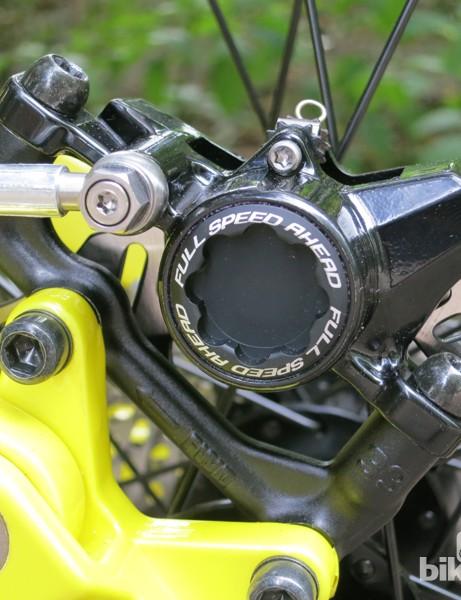 The FSA Afterburner disc brake lacks the titanium hardware found on the K-Force