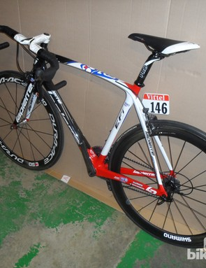 A team bike in the Lapierre factory, in for servicing