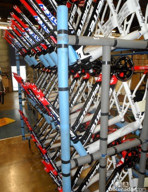Racks full of Lapierre cyclocross frames ready for the season