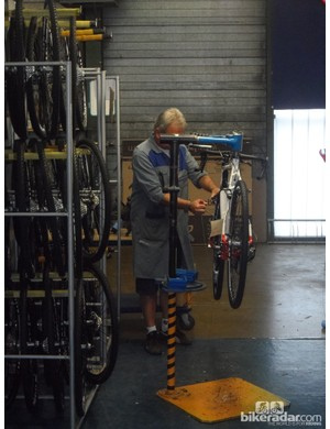 Lapierre's factory in Dijon, France, doesn't have a traditional assembly line. Each bike is assembled by one mechanic at a workstation like this