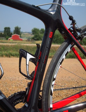 One hiccup: the bosses on the seat tube are too tall, making it difficult to run a large water bottle there depending on the make and model of cage used