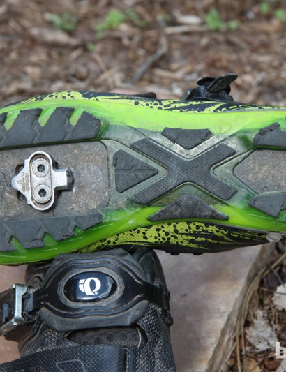 Generous rubber on the bottom of the Pearl Izumi X Project 1.0 shoes gives great traction on hard and soft surfaces