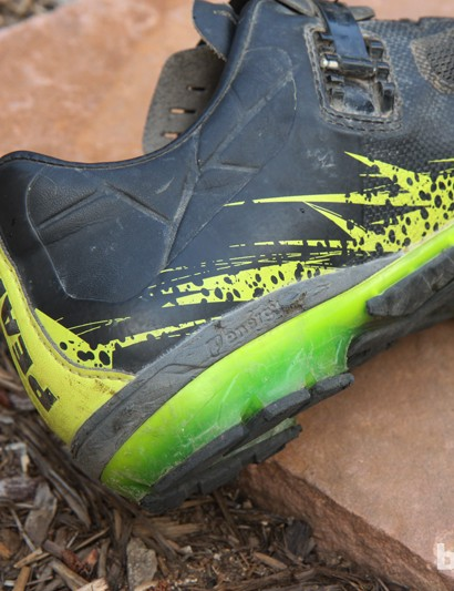 A bit of shock absorbing foam in the Project X 1.0 heel provides some cushioning when you're off the bike