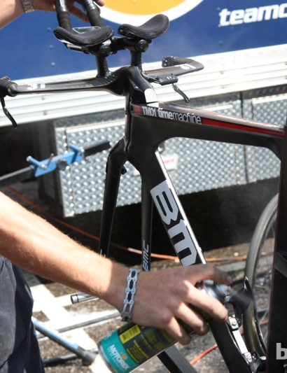 Like all BMC bikes, Tejay van Garderen's machine got a thorough clean and polish before the stage