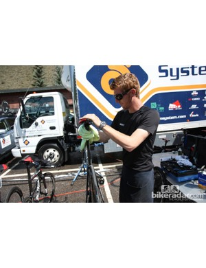 BMC mechanic Aaron Fairley spent a number of minutes going over an already very clean bike