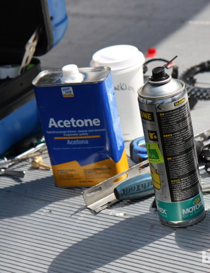 Acetone is kept on hand for the particularly sticky clean-ups (read: sweat and sports drink) and Motorex polish keeps things shiny