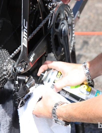 Motorex isn't a team sponsor, but BMC goes through so much lube and polish that mechanics sometimes pick up supplies on the road. A silicone lube was applied prior to the dry time trial start