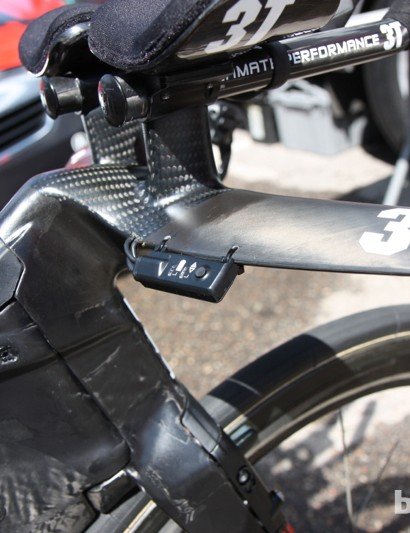 The custom 3T bar is drilled to hold the Di2 interface