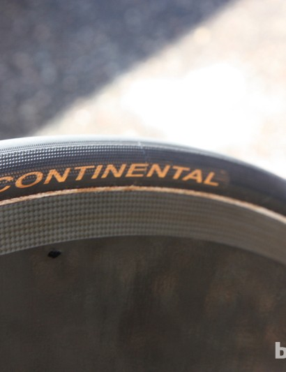 BMC has team-only Continental tubular tires. On the relatively narrow Lightweight disc, BMC uses 22mm tires. On the wider PRO discs, they use 25mm