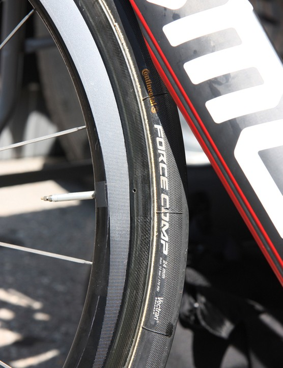 The front tire, which features the same dual tread as the unmarked rear, has a 24mm width to match the Shimano C50 tire bed