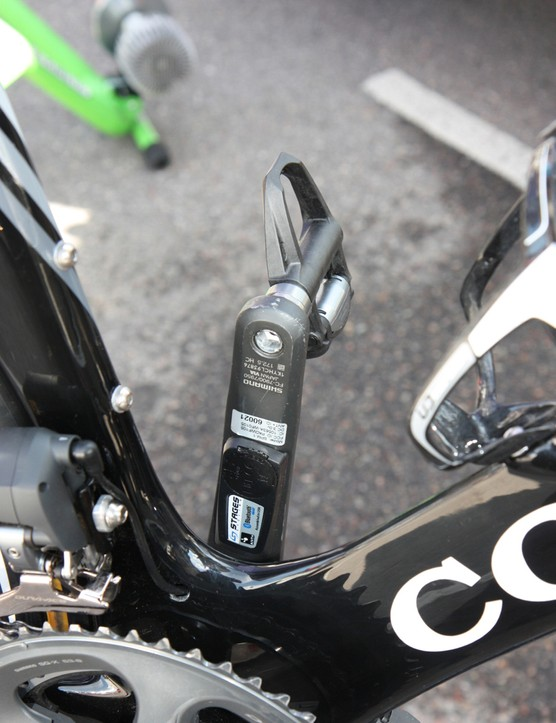 Team Novo Nordisk is the one team at USA Pro Challenge using Stages Power meters, which mount on the left crank