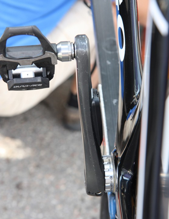 A side profile view of the Stages Power meter