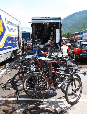 BMC used a mix of road and time trial bikes for the stage 5 uphill time trial