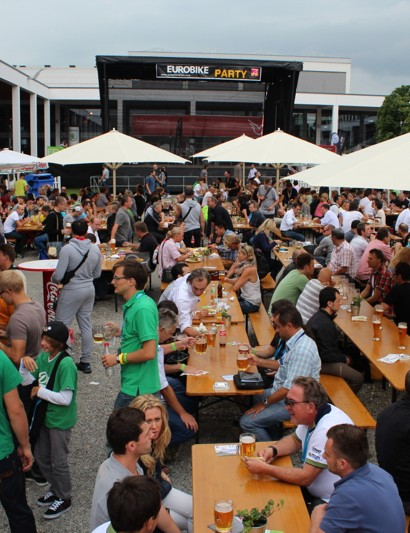 Although it's not yet October, the German-based Eurobike offers a hearty biergarten