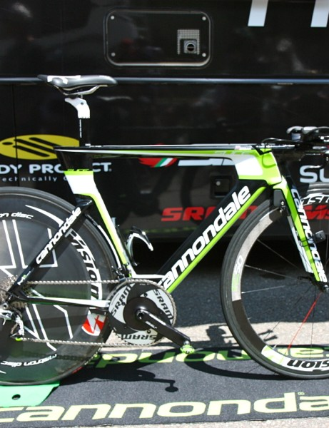 As with his road bike, Peter Sagan (Cannondale) runs his Slice RS time trial rig long and low. His reach is 60cm, measured from the tip of the saddle to the center of the pads. His drop is 18cm