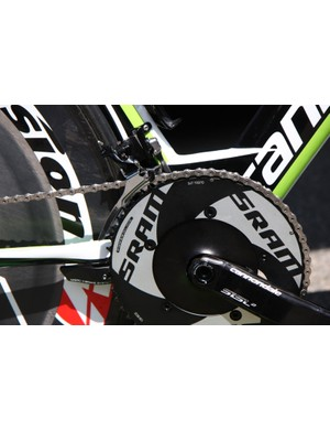 Peter Sagan's (Cannondale) 54/42 aero SRAM chainrings