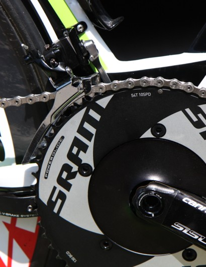 Peter Sagan's (Cannondale) 54/42 aero SRAM chainrings