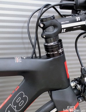 The 3D head tube offers plenty of adjustment on the Argon 18 E-112 triathlon/time trial bike