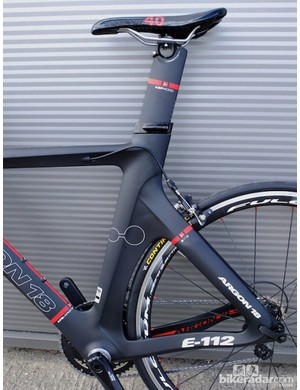 The Argon 18 E-112's seatpost can be flipped to switch the seat angle between 76 and 78 degrees