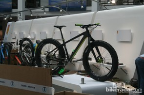 A Salsa carbon fat bike comes out of the box. The fat bike theme is prevalent for 2014