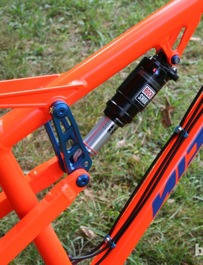 The €1,999 price tag for the Nicolai Helius HB frame (without shock) includes the lairy powder-coated paint finish. It's also available with a Pinion gearbox for €3,660