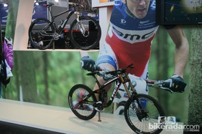 Shimano showing off their race pedigree with Brook MacDonald's team issue Trek Session 9.9 and a BMC race bike