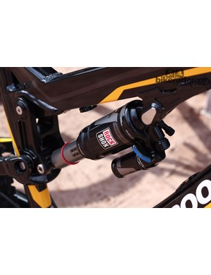 The Nukeproof Mega AM uses a piggyback-equipped RockShox Monarch Plus RC3 shock for extra heat control on rough descents