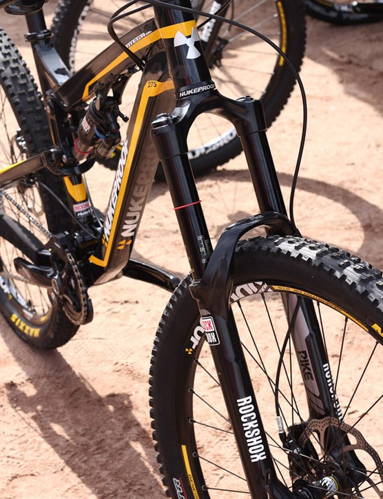 The Nukeproof Mega AM has a 160mm RockShox Pike RT3 fork in the 44mm internal diameter head tube