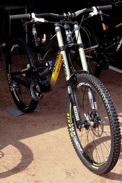 The Nukeproof Scalp trades a slight price increase (to £2,499.99) with a much more capable RockShox Boxxer RC fork and SRAM X7 rear mech