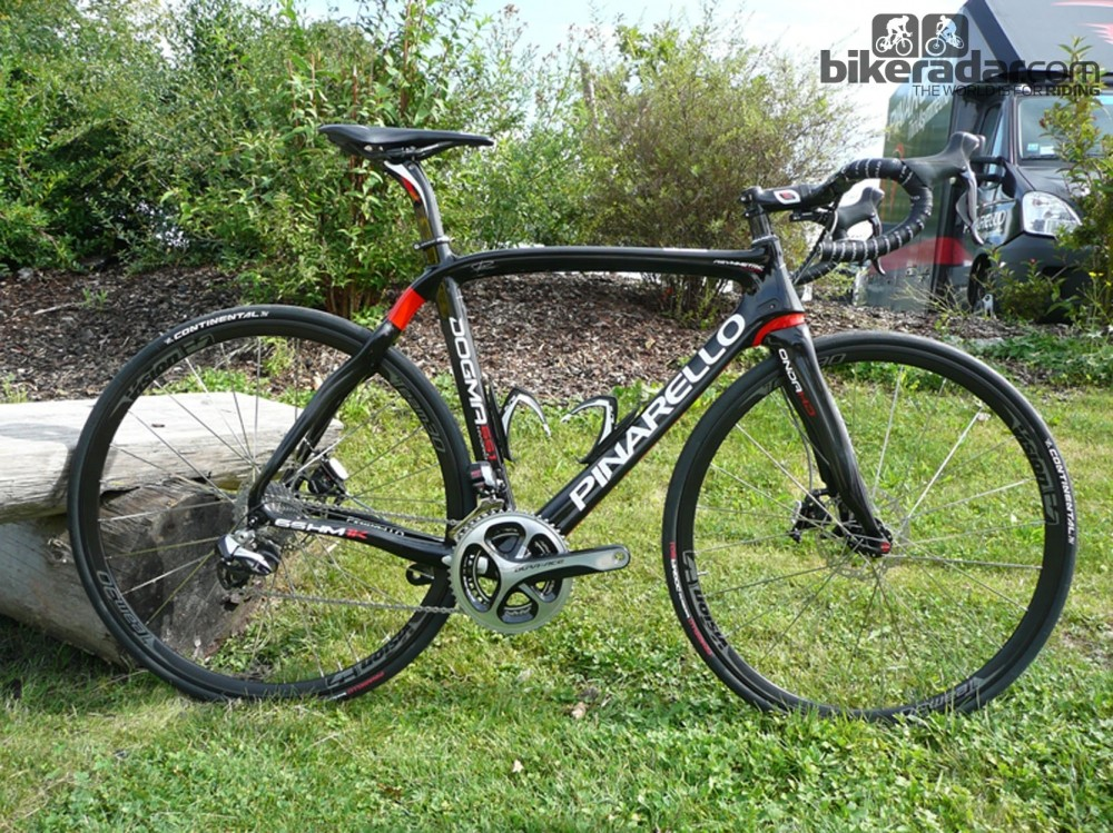 The Pinarello Dogma 65.1 Think 2 has Shimano Dura-Ace Di2 and TRP HY/RD hydraulic disc brakes and is new for 2014
