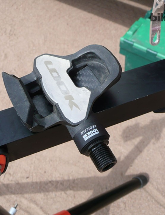 The Look Keo Blade pedal's broad cleat plate has been retained